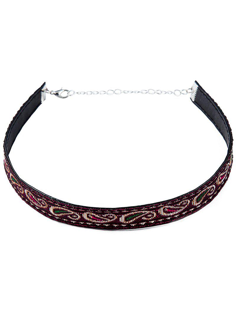 Retro Style Embroidery Choker Necklace - PURPLE