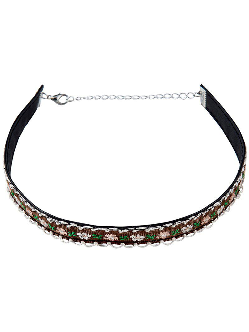 Vintage Flower Embroidery Choker Necklace - COFFEE