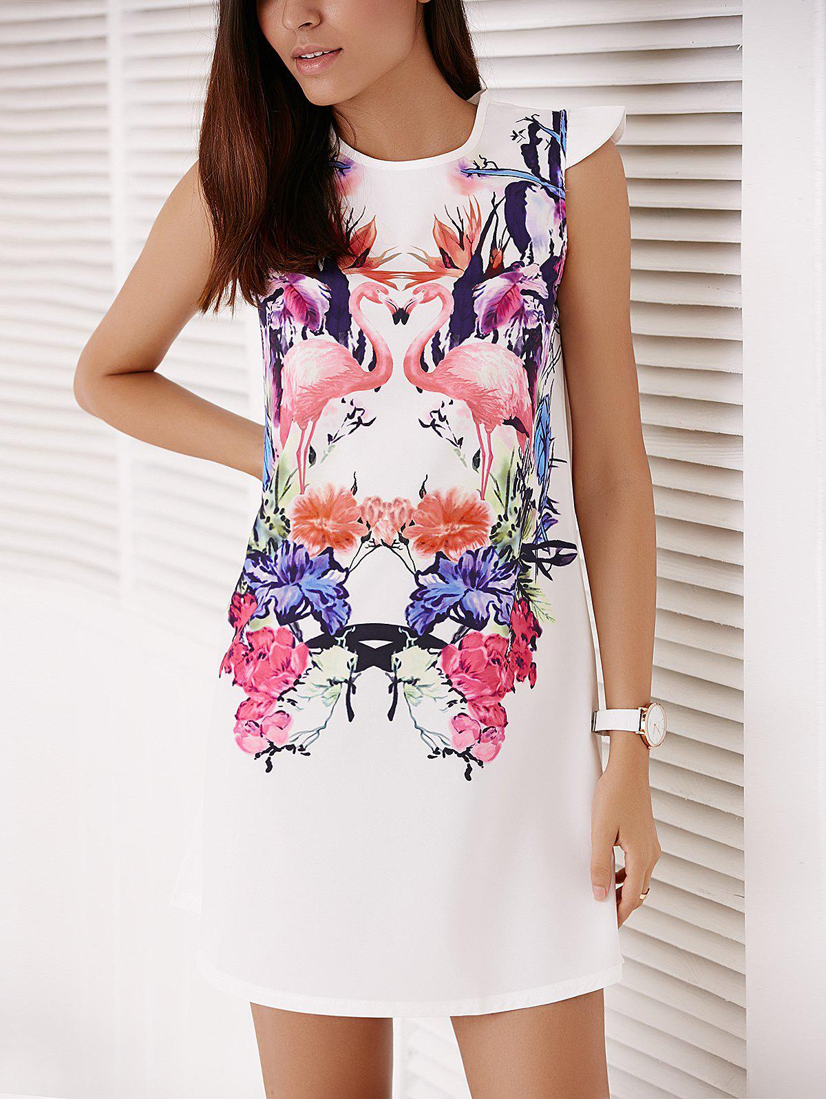 Women's Colorful Crane and Floral Printed  Straight Dress - WHITE S