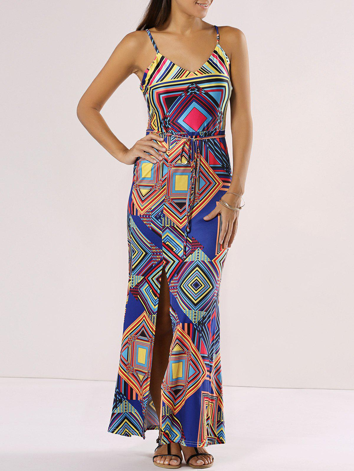 Chic Spaghetti Strap Cut Out Geometric Print Dress - BLUE XL