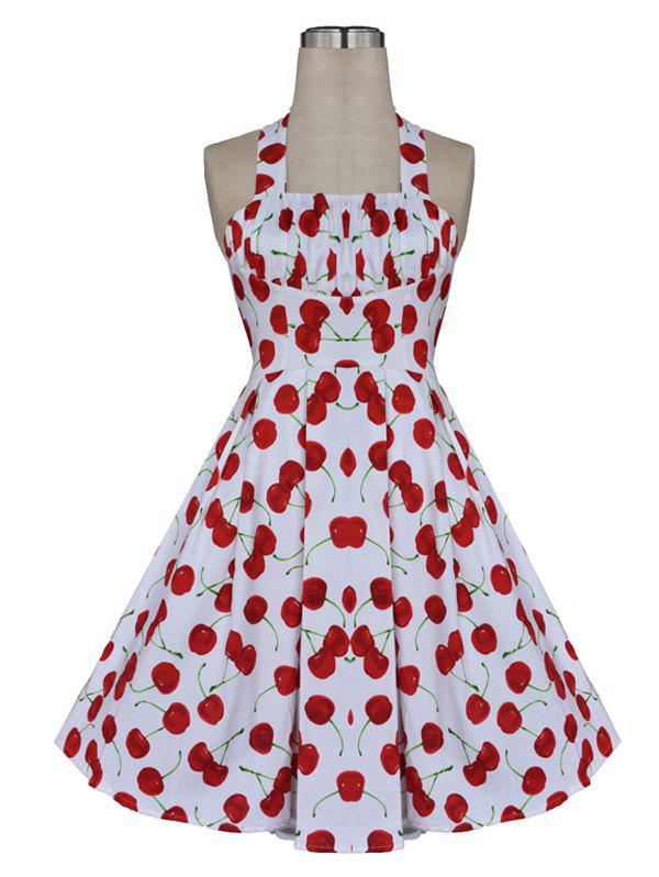 Sweet Backless Cherry Print Dress For Women - WHITE 3XL