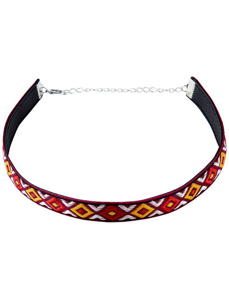Chic Embroidery Square Choker Necklace - RED