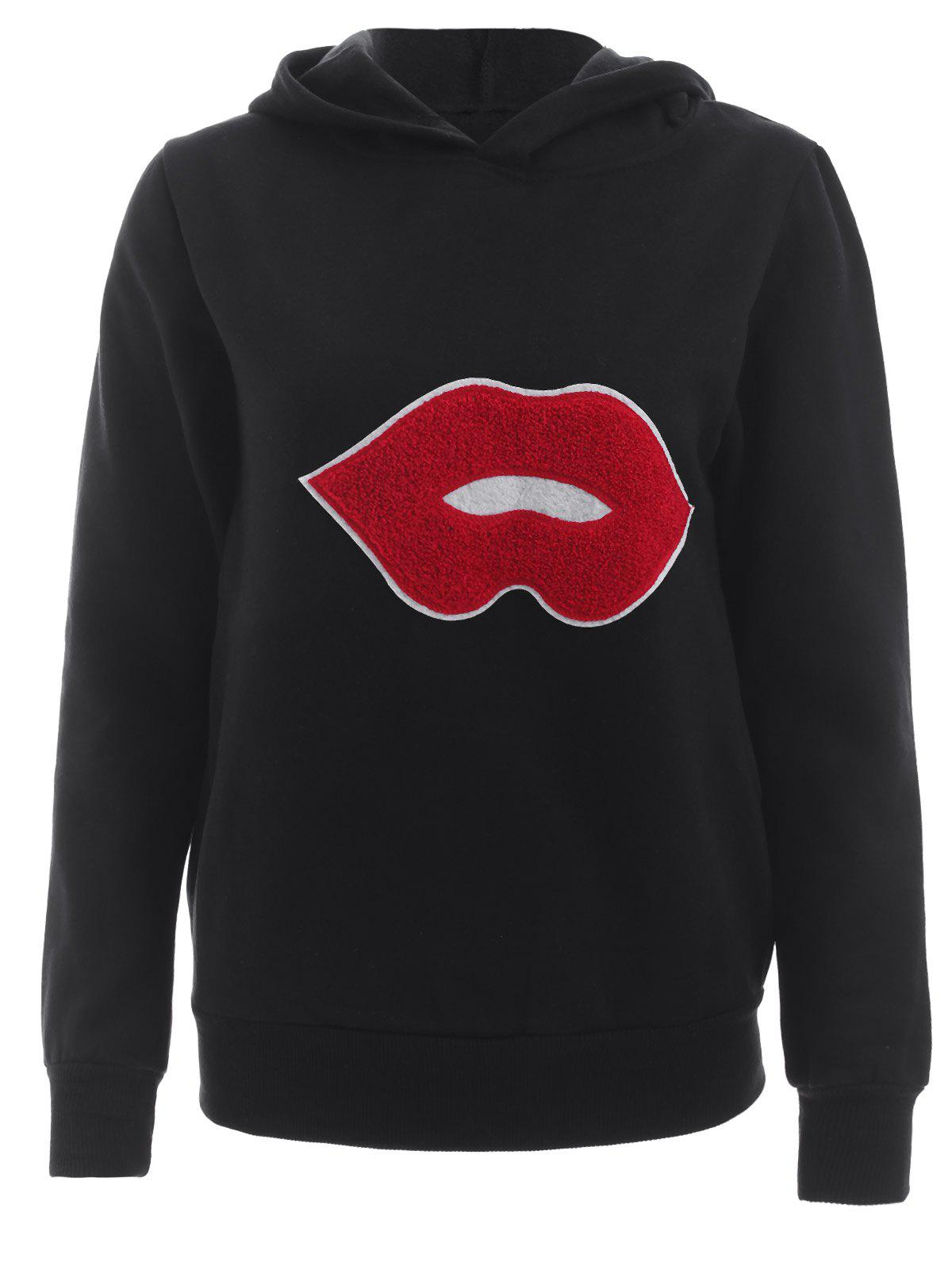 Long Sleeve Lip Mouth Insert Hoodie - FULL BLACK 2XL