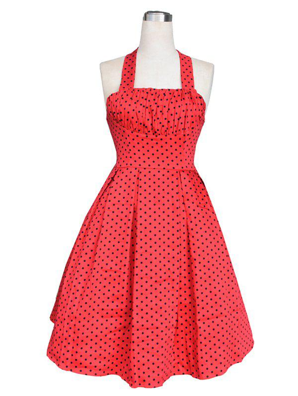 Vintage Ruched Polka Dot Dress For Women - RED 2XL