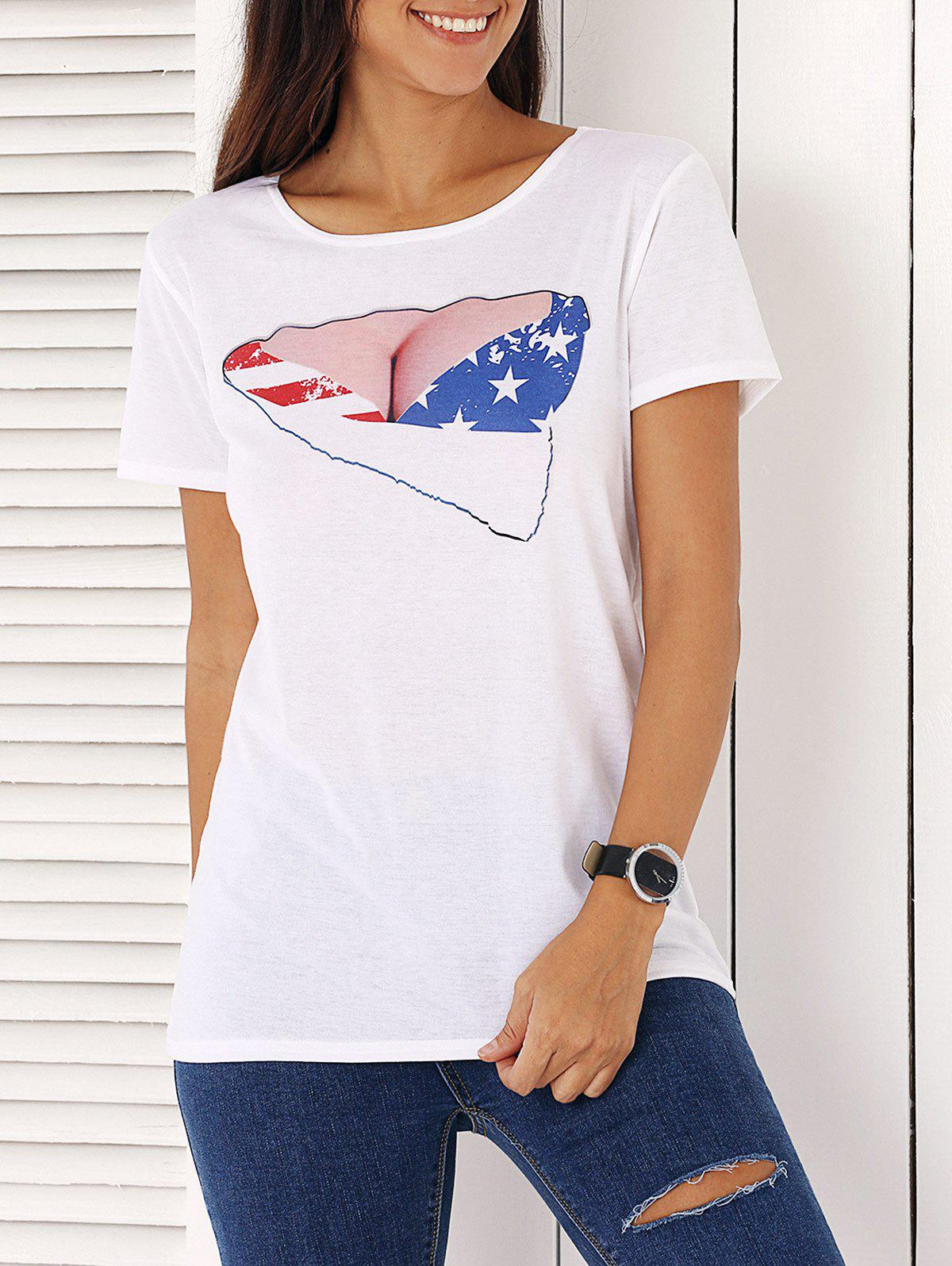 Chic Short Sleeve Star Print Women's T-Shirt - WHITE ONE SIZE