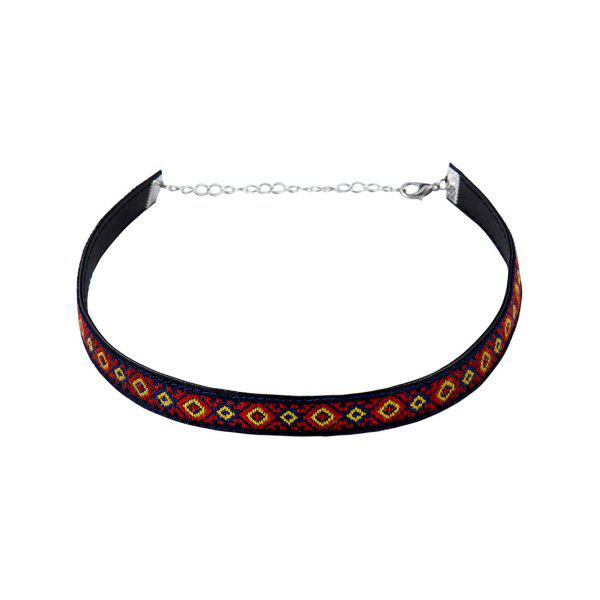 Vintage Square Pattern Embroidery Choker Necklace - PURPLISH BLUE