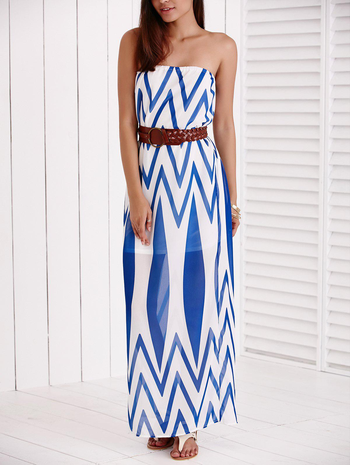 Brief Strapless Zig Zag Belted Dress