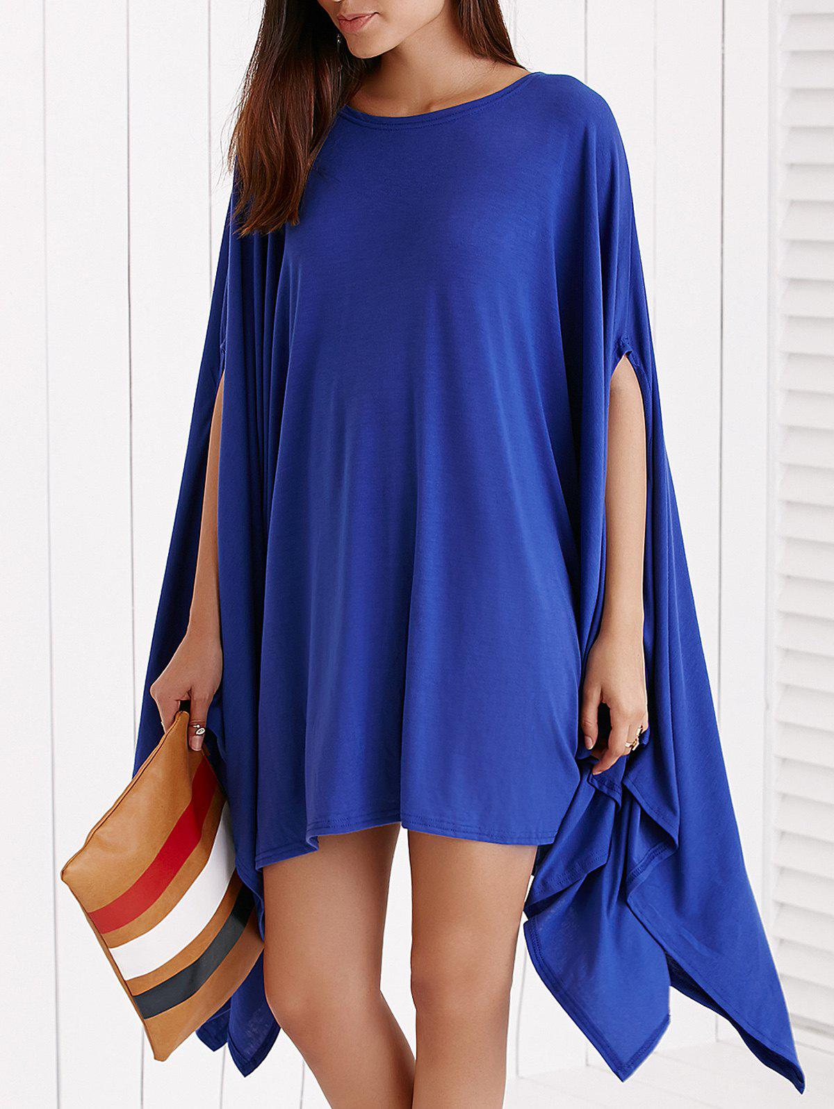 Simple Solid Color Batwing Sleeve Asymmetric Loose Dress - BLUE L