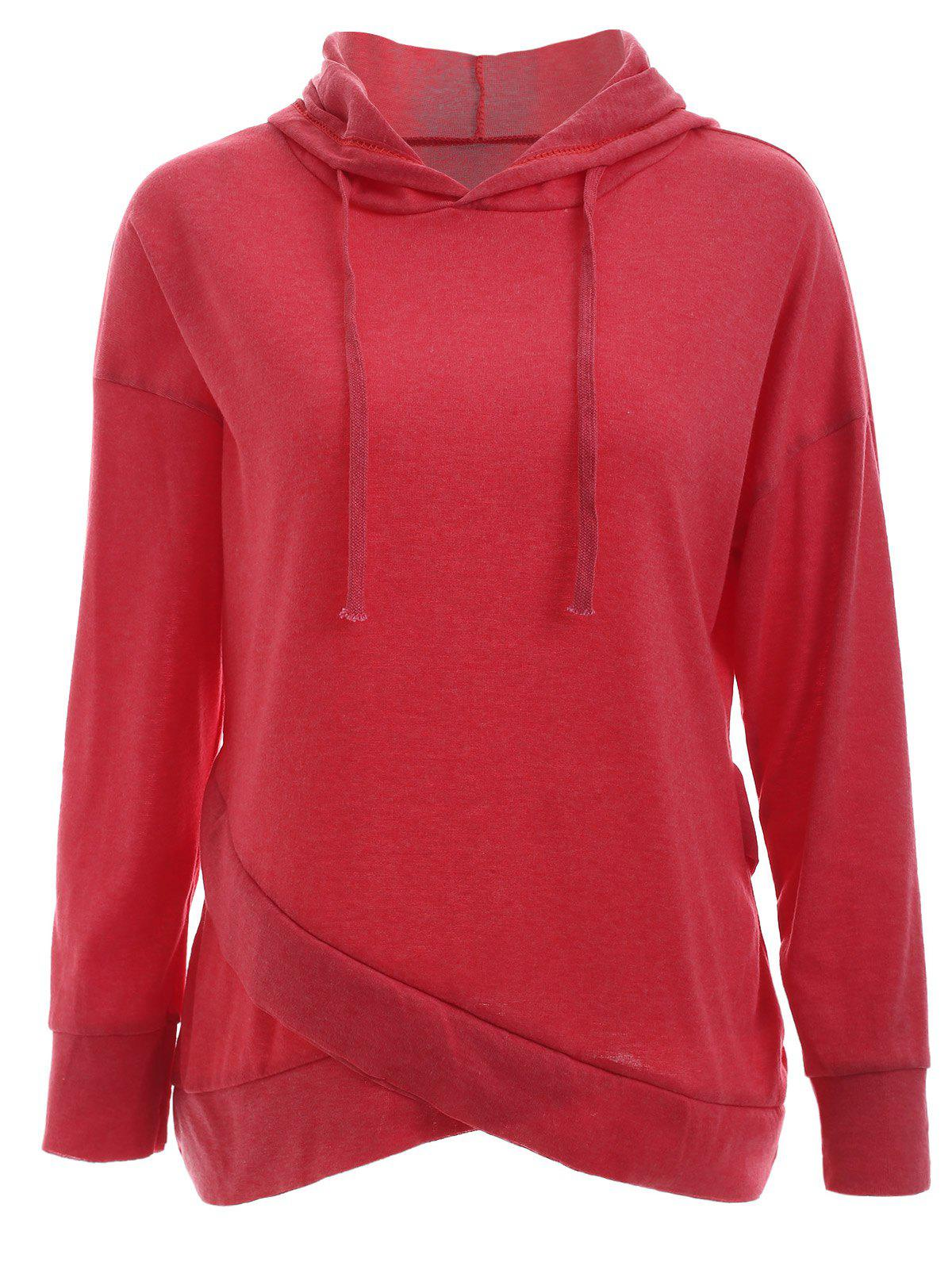 Trendy Long Sleeve Pure Color Slant Spliced Hoodie - RED XL