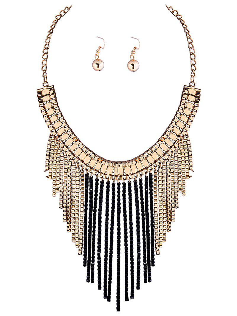 A Suit of Vintage Chain Fringed Necklace and Earrings - BLACK