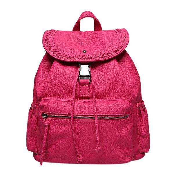 Fashion PU Leather and Drawstring Design Women's Backpack - ROSE MADDER