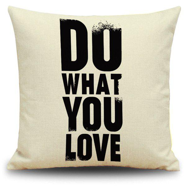 Letter Printed Sofa Car Cushion Decorative Pillow Case - BLACK