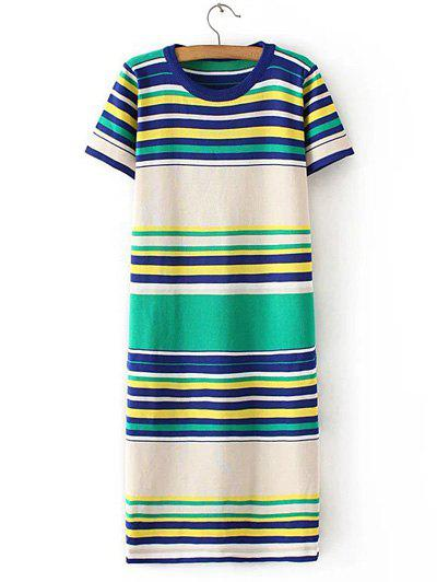 Chic Women's Colorful Striped Knitted T-Shirt Dress - BLUE/YELLOW/GREEN ONE SIZE