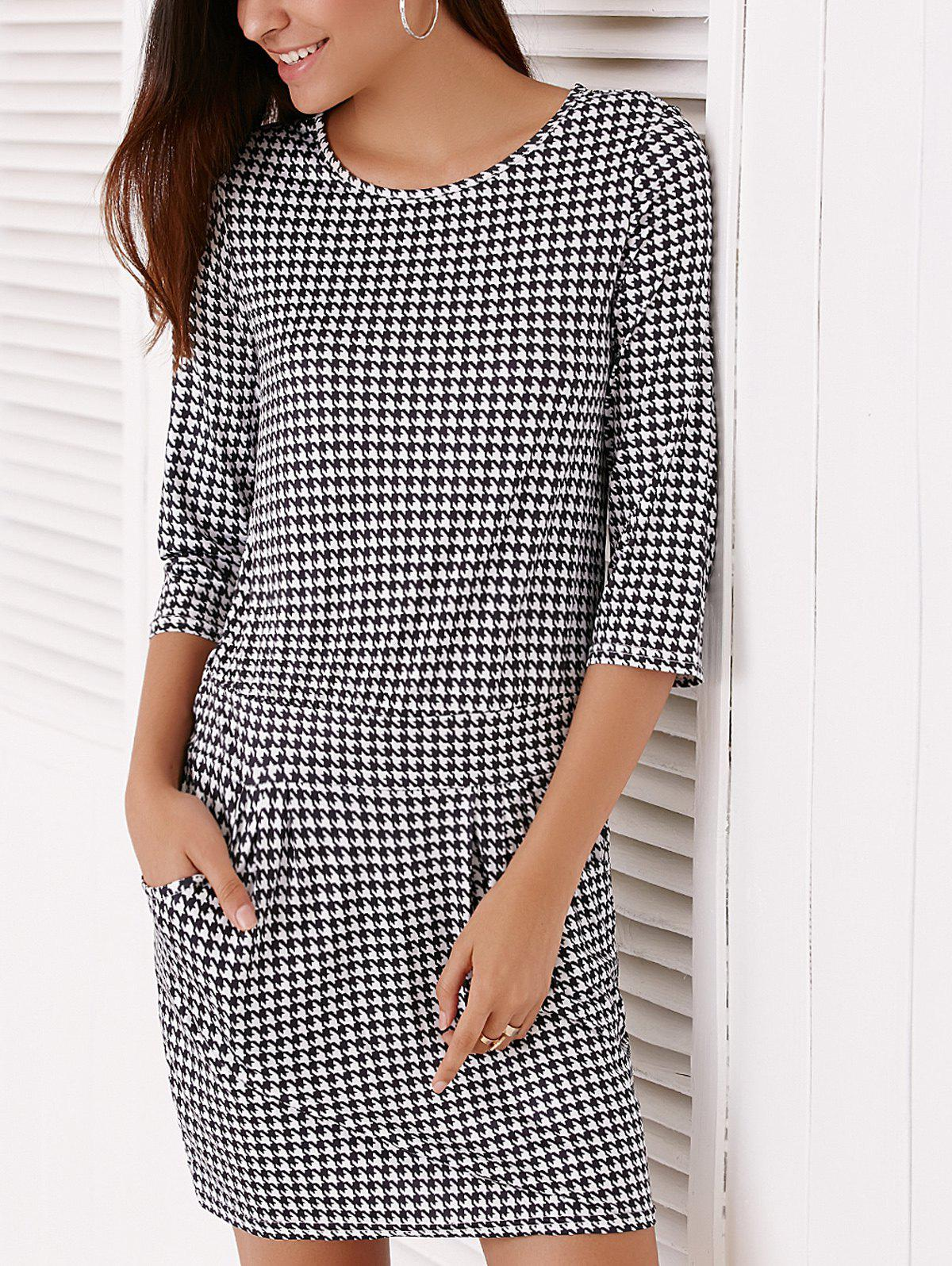 Trendy Houndstooth Printed 3/4 Sleeve Dress For Women - WHITE/BLACK S