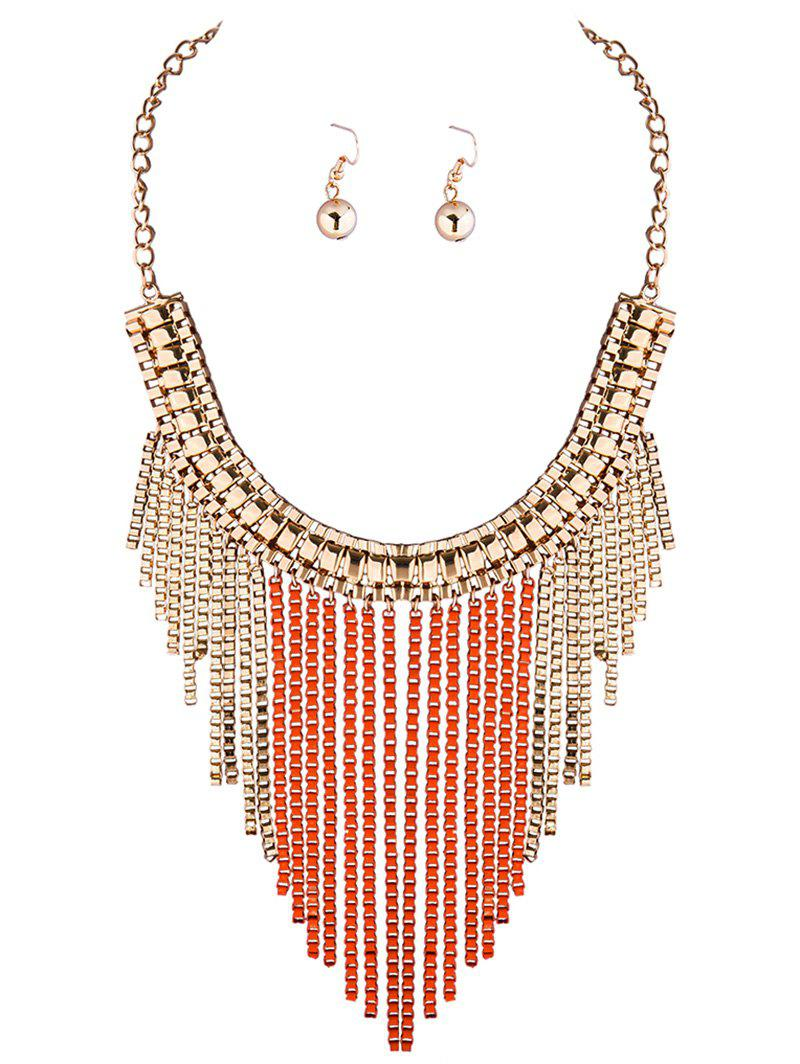 A Suit of Chic Box Chain Necklace and Earrings - ORANGE