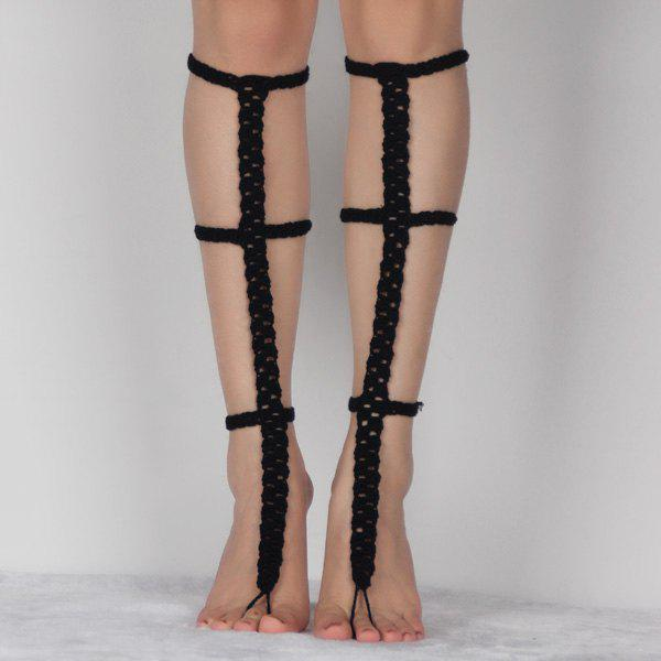 Pair of Graceful Hollow Out Crochet Anklets For Women -  BLACK