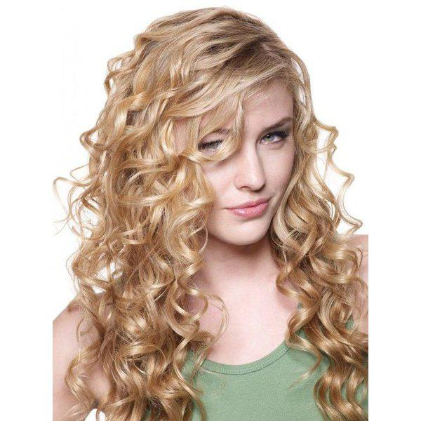 Sparkling Women's Golden Ombre Long Fluffy Curly Side Parting Synthetic Wig