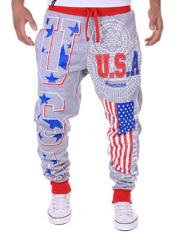 Star Beam Feet Lace-Up American Flag Sweatpants - LIGHT GRAY M