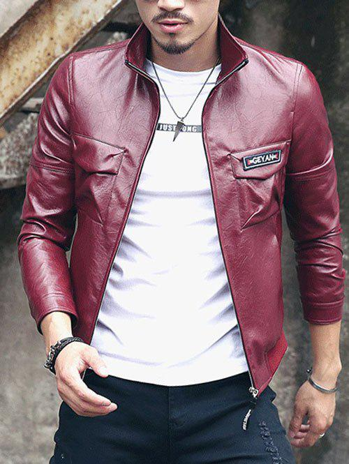 Démontable Fleece col rabattu manches longues hommes d  'PU-Leather Jacket - Rouge vineux L