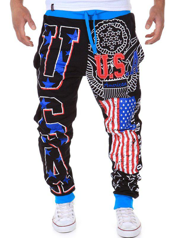 American Flag Star Letters USA Print Color Spliced Beam Feet Lace-Up Men's Loose Fit Sweatpants
