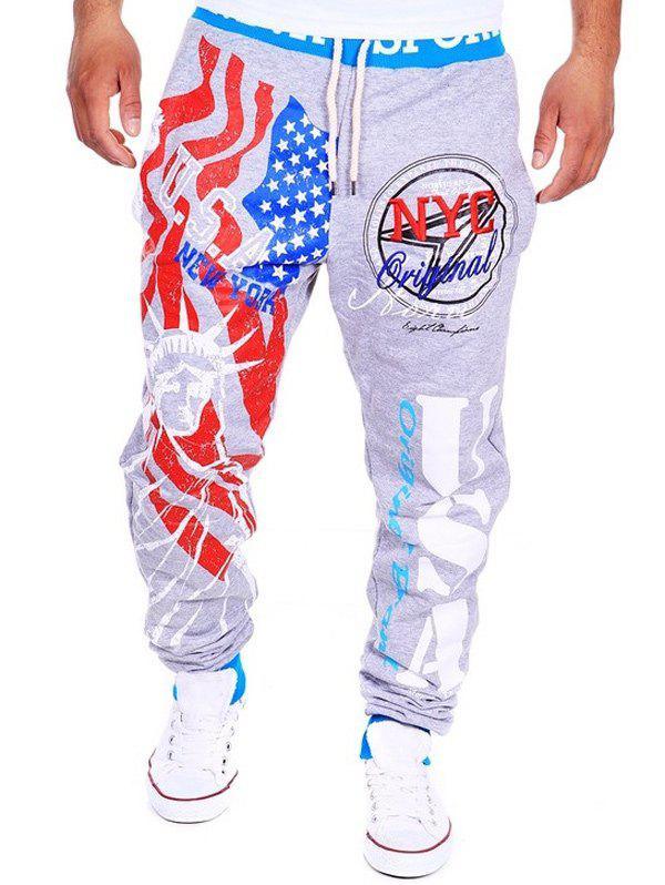 Beam Feet American Flag Statue of Liberty Letters Print Hit Color Lace-Up Men's Loose Fit Sweatpants - COLORMIX 2XL