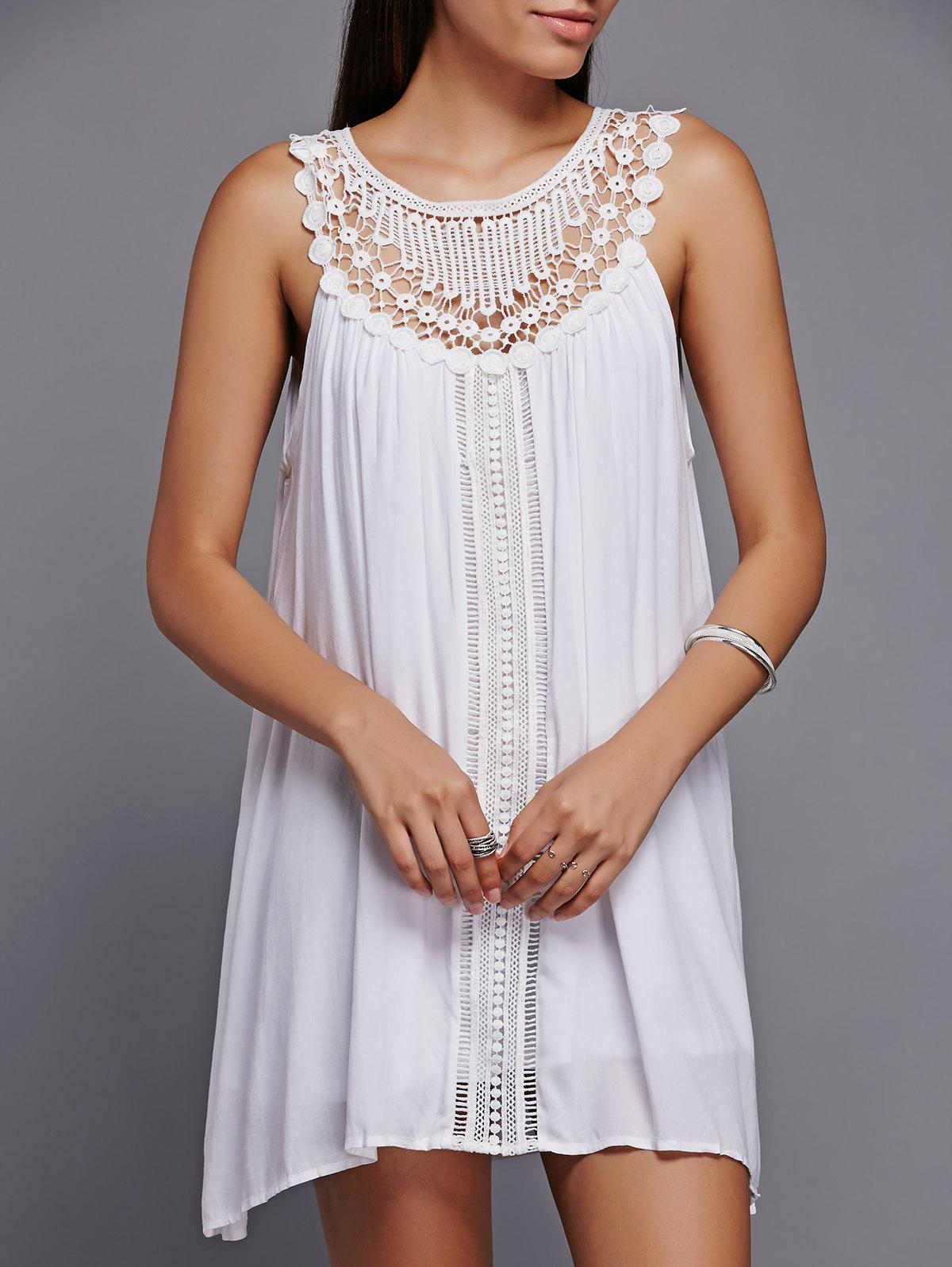 Trendy Lace Spliced Sleeveless Dress - WHITE L