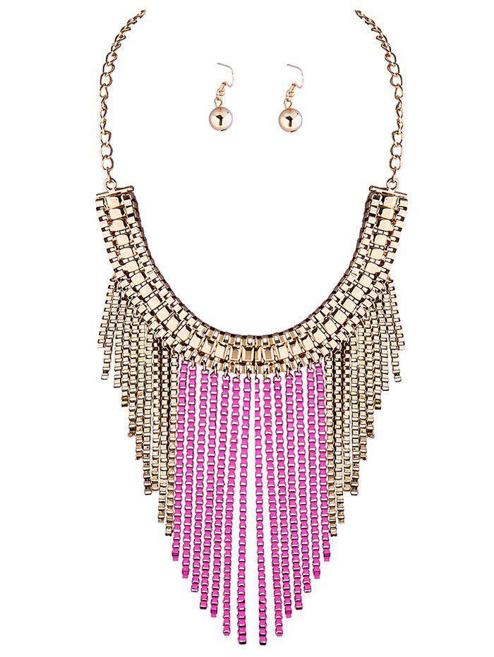 A Suit of Irregular Fringed Chain Necklace and Earrings - PINK