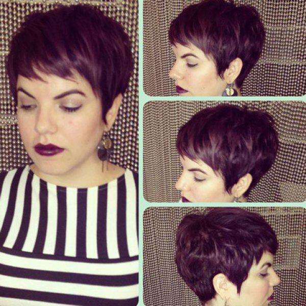 Palm Red Fashion Women's Short Pixie Cut Straight Side Bang Synthetic Wig
