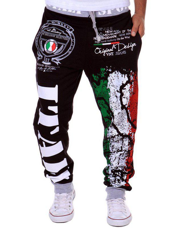 Trendy Lace-Up Loose Fit Italy National Emblem Print Beam Feet Polyester Sweatpants For Men - BLACK M
