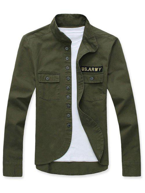 Single Breasted Applique Stand Collar Long Sleeve Men's Jacket