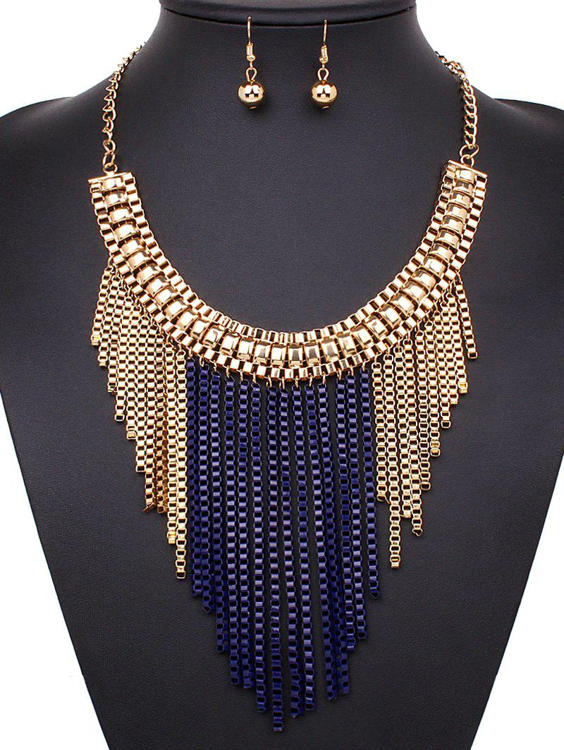 A Suit of Box Chain Tasseled Necklace and Earrings - SAPPHIRE BLUE