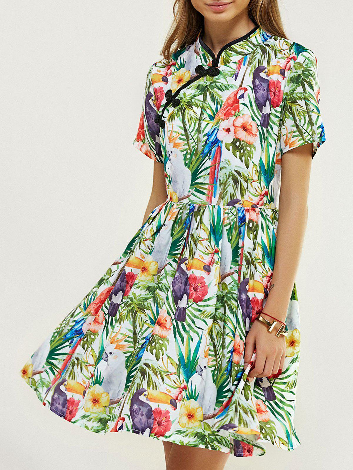 Ladylike Mandarin Collar Floral Print Flare Dress - COLORMIX 2XL
