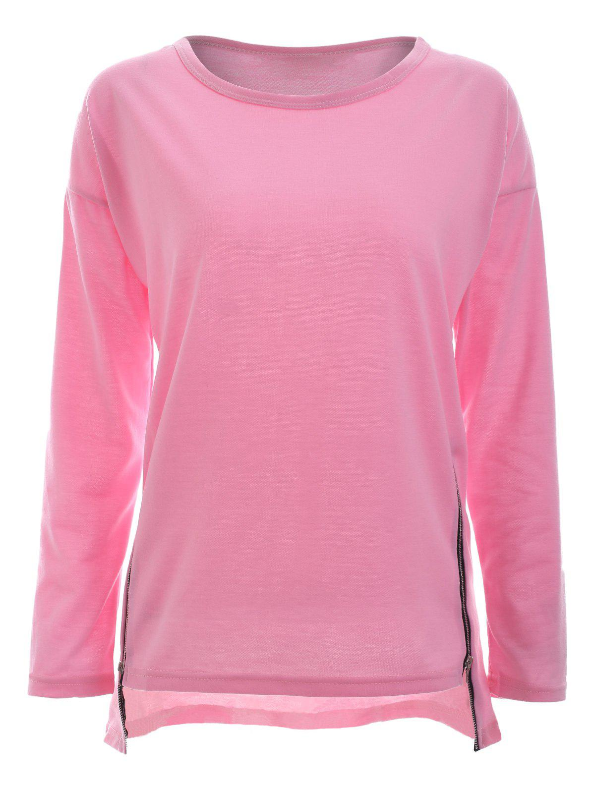 Trendy Long Sleeve Side Zipper Asymmetric Sweatshirt - LIGHT PINK 2XL