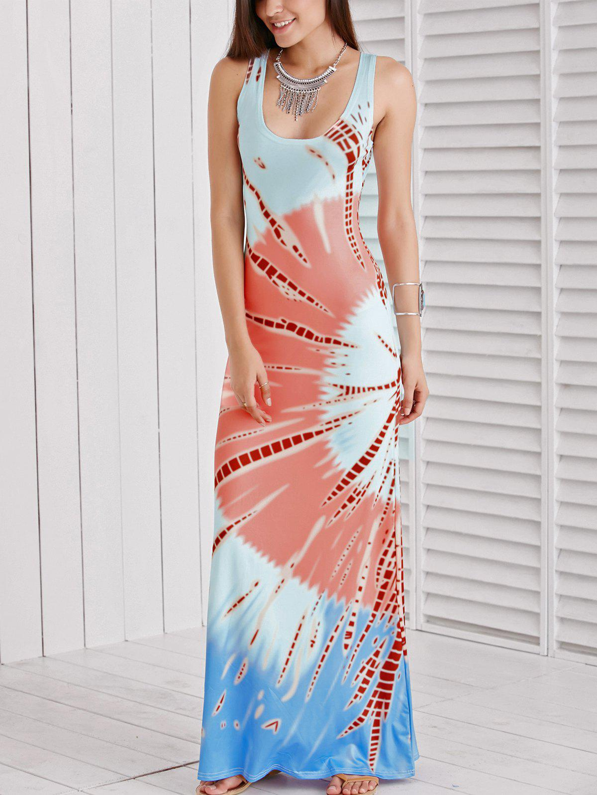 Women's U Neck Sleeveless Printed Maxi Dress - COLORMIX XL
