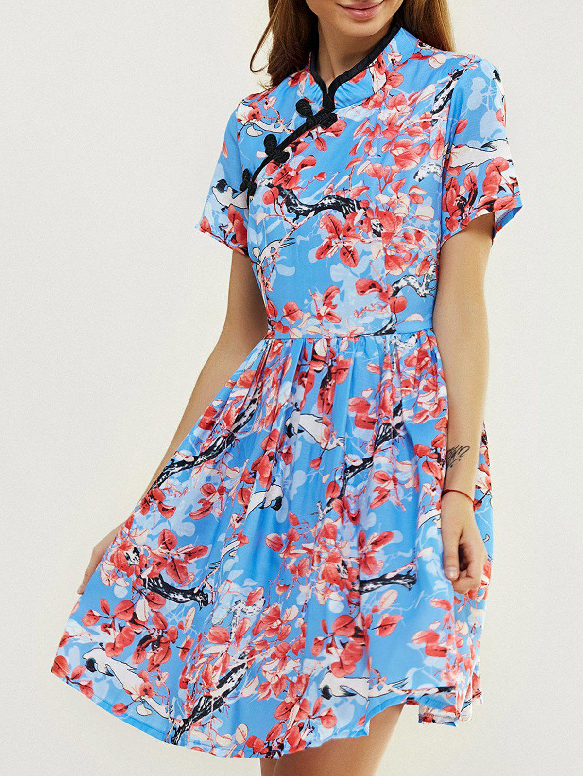Ladylike Mandarin Collar Flower Print Fit and Flare Dress - MEDIUM BLUE 2XL