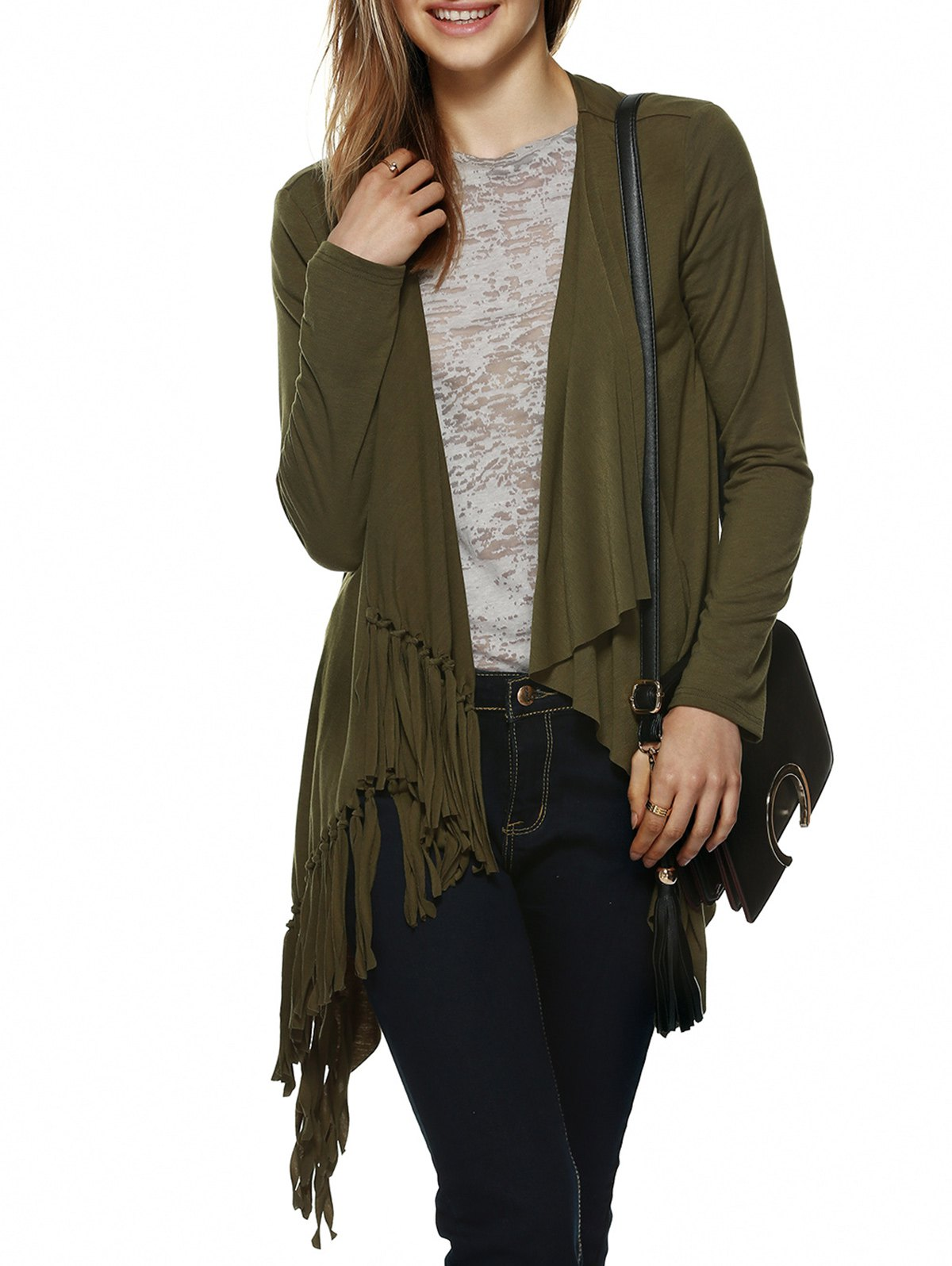 Chic Drape Collar Fringed Cardigan - OLIVE GREEN XL