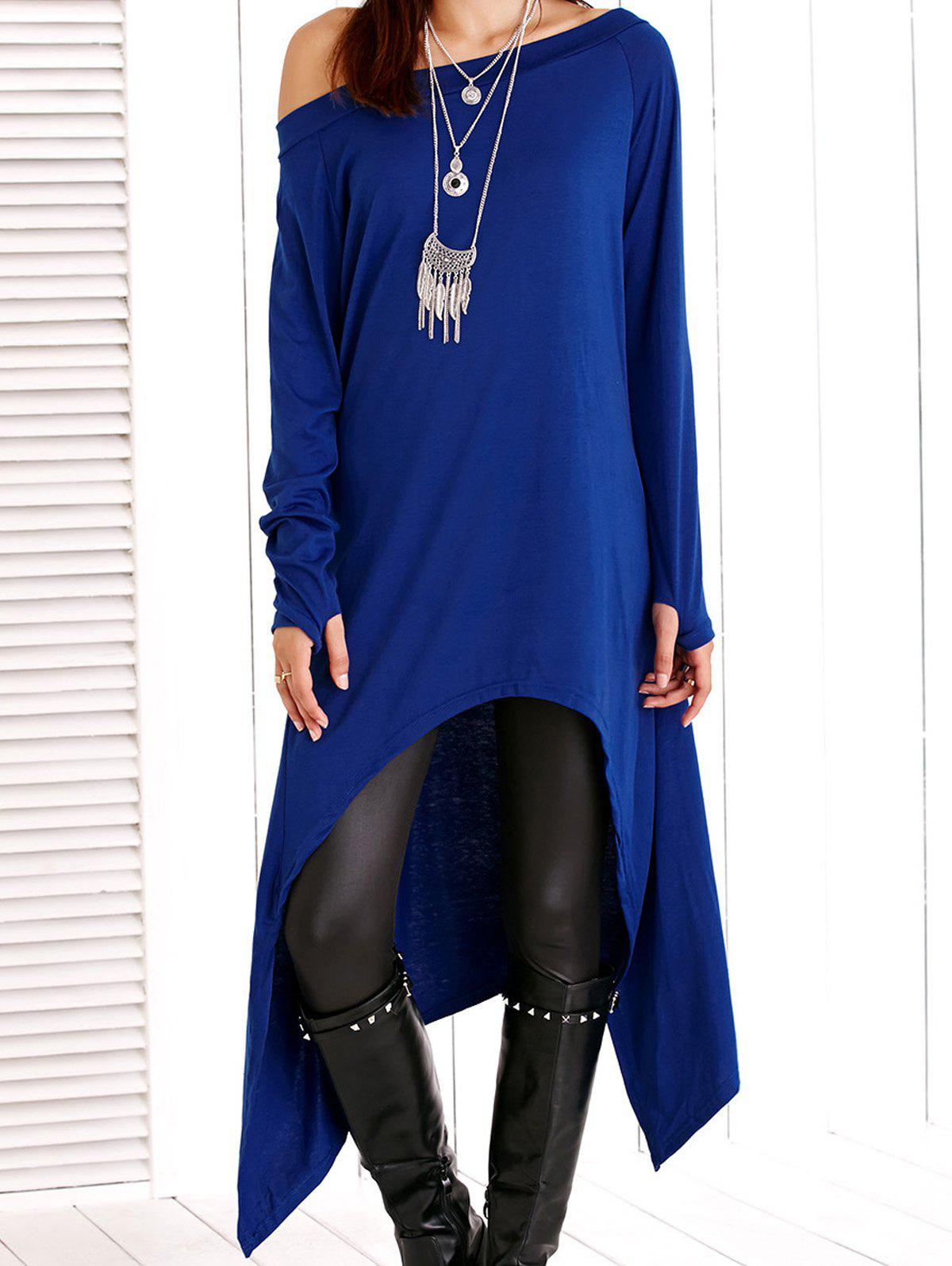 Long Sleeve Skew Neck Solid Color Asymmetric Dress - SAPPHIRE BLUE M