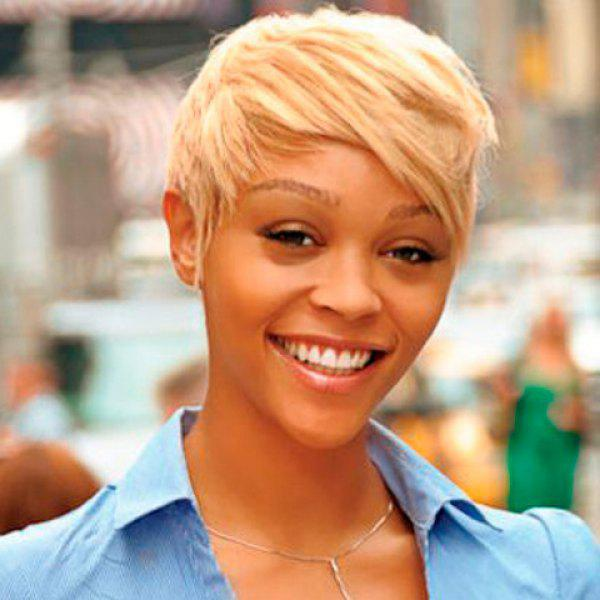 Golden Ombre Fashion Women's Short Pixie Cut Straight Side Bang Synthetic Wig