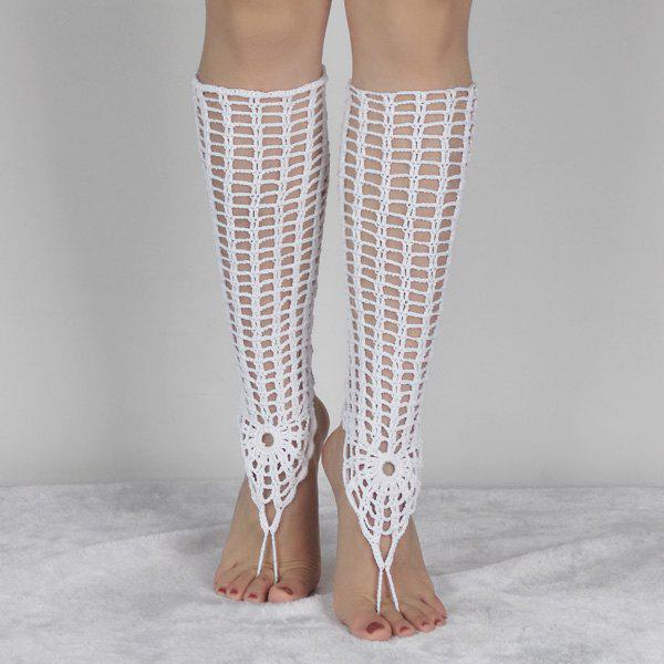 Pair of Charming Hollowed Crochet Anklets For Women - WHITE