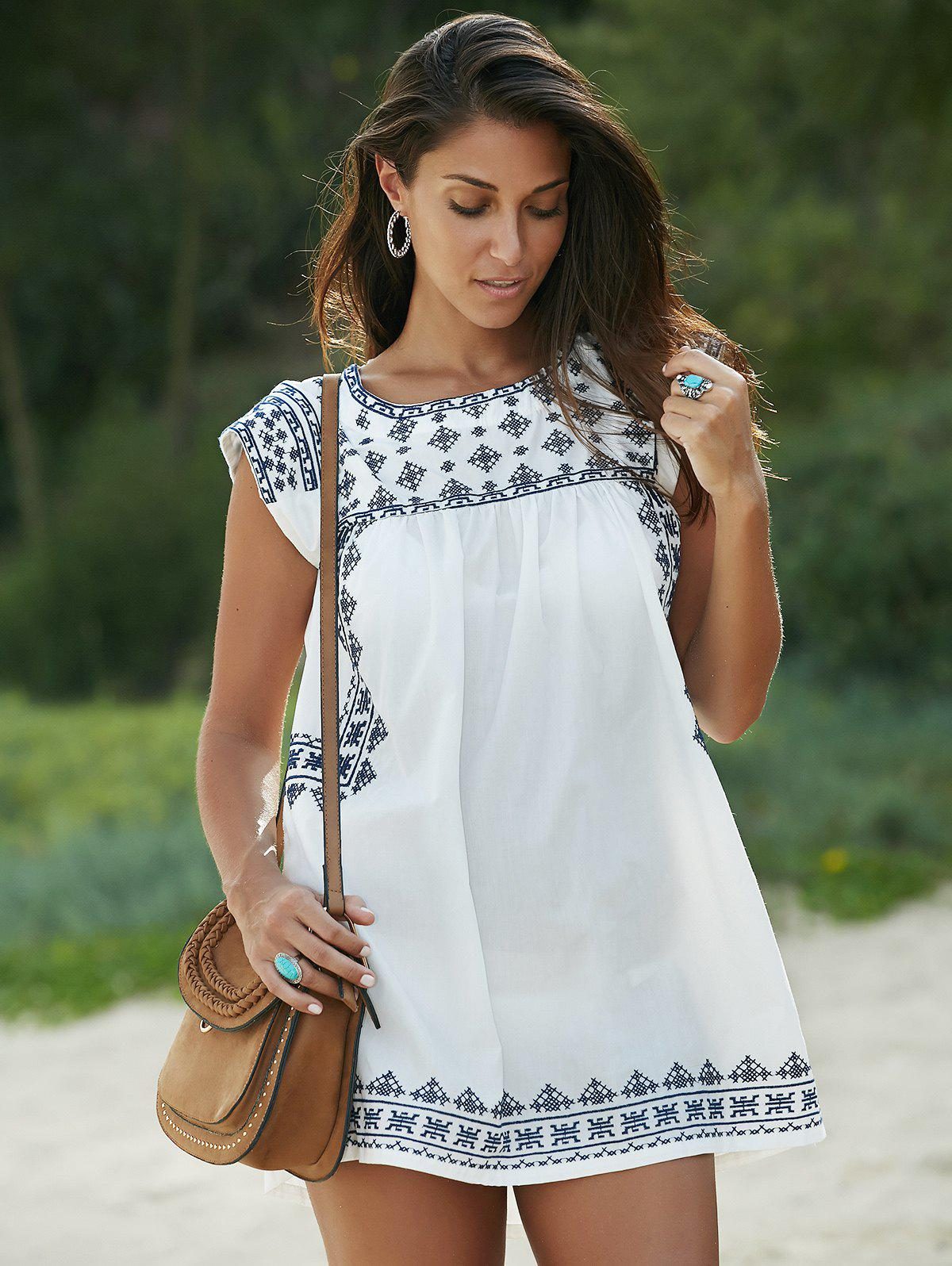 Ethnic Style Tribal Printed Cap Sleeve Mini T-Shirt Dress - WHITE M
