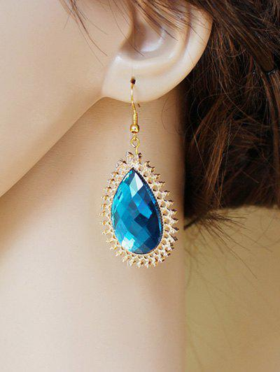 Pair of Water Drop Faux Sapphire Filigree Earrings - BLUE
