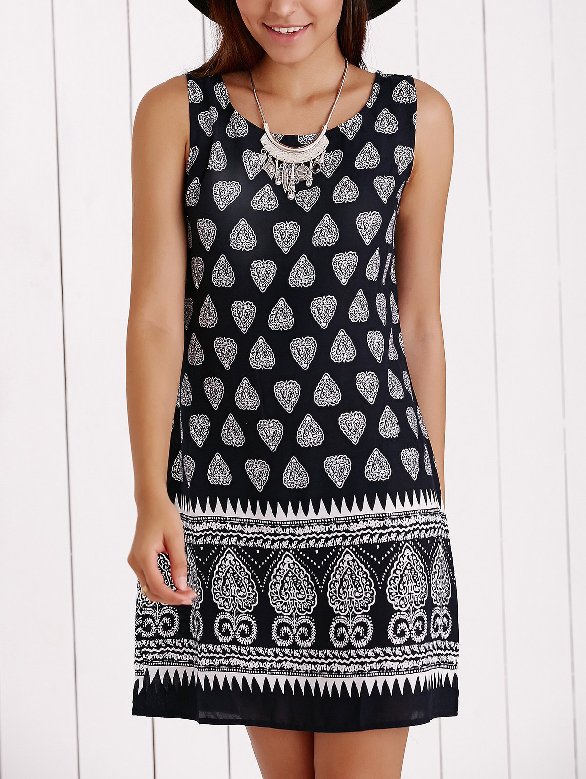 Scoop Neck Tribal Print Shift Dress - BLACK XL