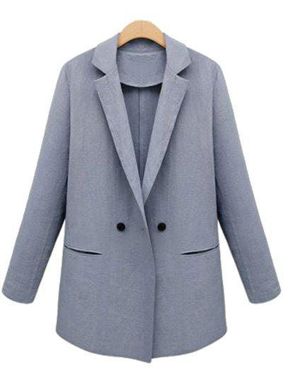 Lapel Neck Button Design Blazer - BLUE GRAY S