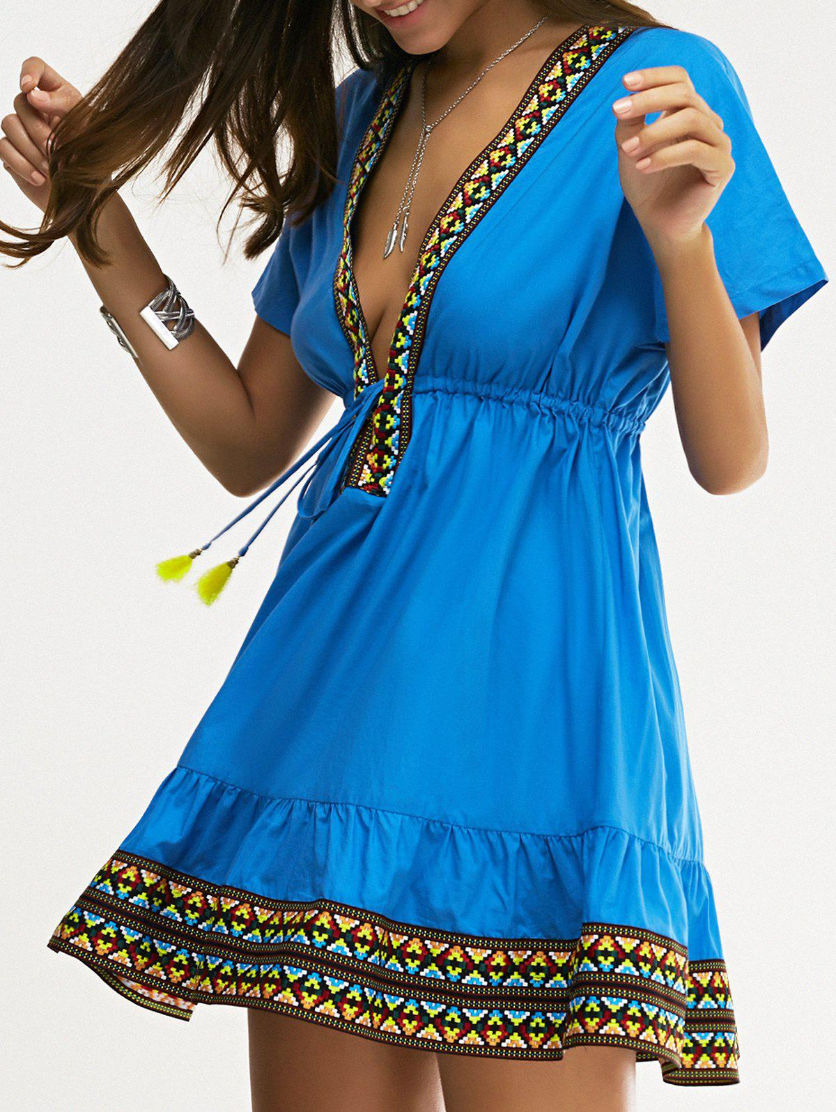 Ethnic Style Women's Slimming Plunging Neck Low-Cut Dress - SAPPHIRE BLUE XL