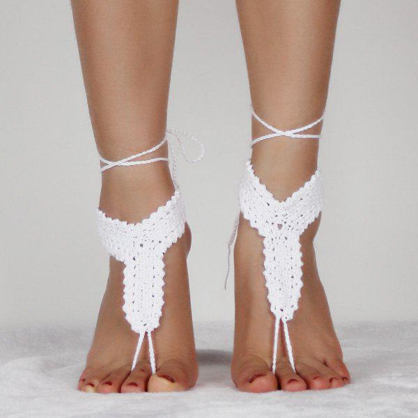Crochet Rope Hollow Out Anklets - WHITE