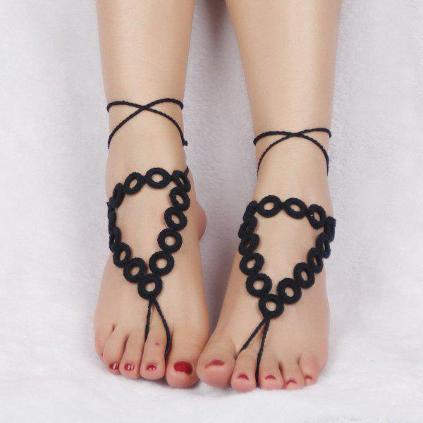Pair of Graceful Triangle Crochet Anklets For Women - BLACK