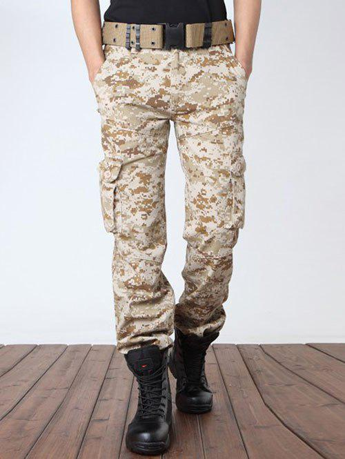 Plus Size Camouflage Print Zipper Fly Pockets Design Cargo Pants - MARPAT DESERT 38