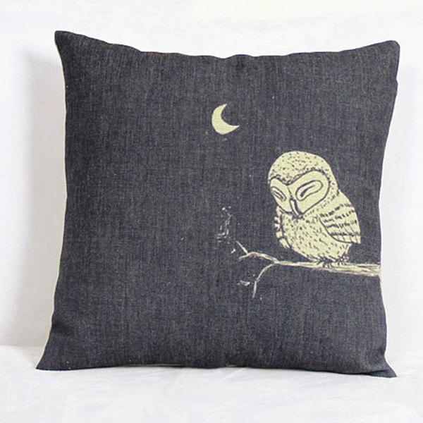 Thicken Night Owl Moon Design Pillow Case - BLACK