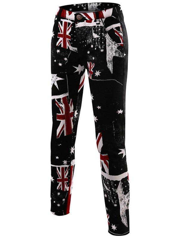 Slim-Fit Flag Print Pants - BLACK 33