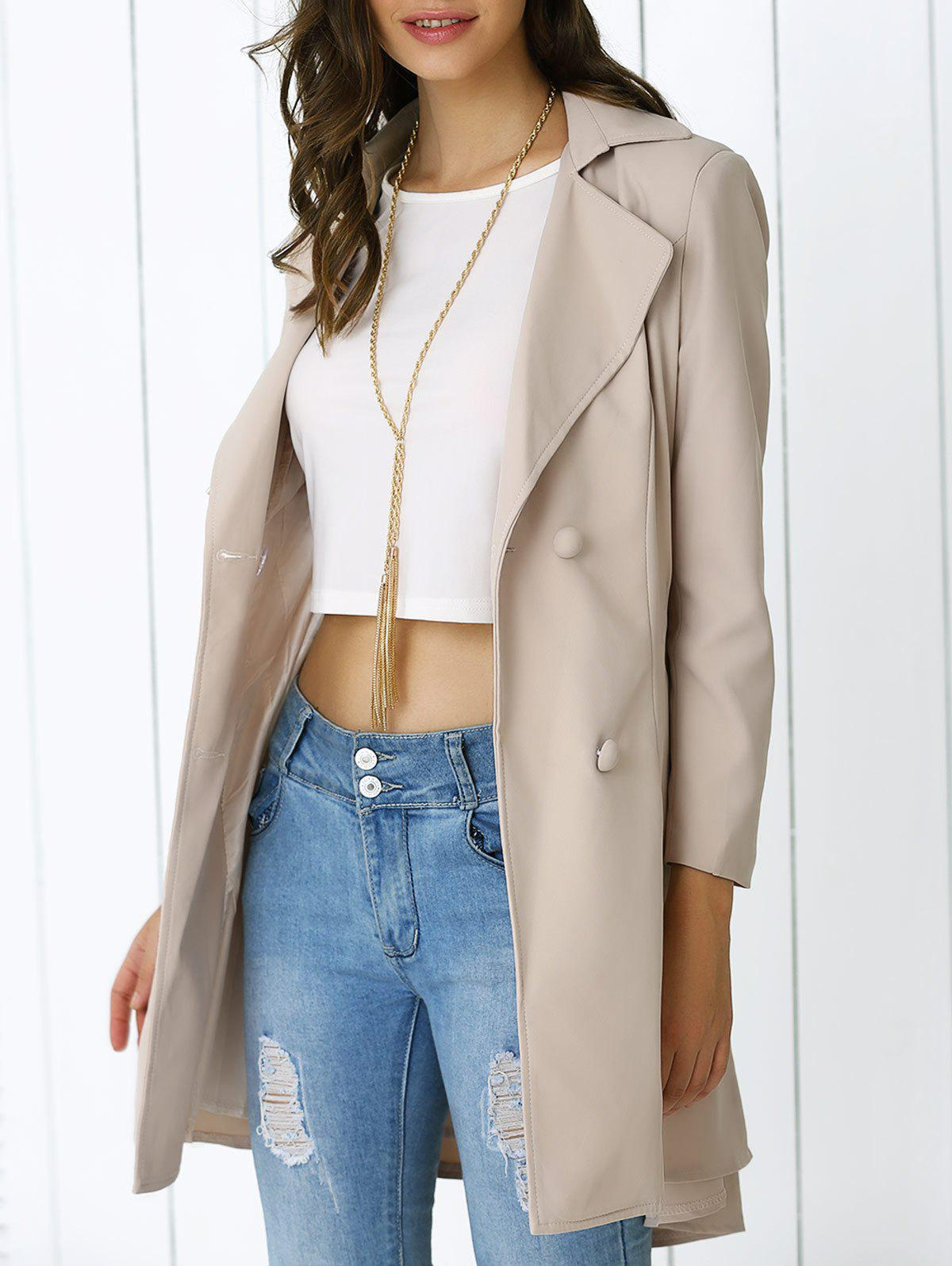 Elegant Belted Sing-Breasted  Flounced Dovetail Coat